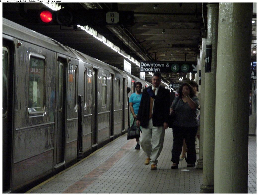 (119k, 1044x788)<br><b>Country:</b> United States<br><b>City:</b> New York<br><b>System:</b> New York City Transit<br><b>Line:</b> IRT East Side Line<br><b>Location:</b> Wall Street <br><b>Car:</b> R-62 (Kawasaki, 1983-1985)  1514 <br><b>Photo by:</b> David Pirmann<br><b>Date:</b> 7/11/2000<br><b>Notes:</b> Southbound platform facing north<br><b>Viewed (this week/total):</b> 0 / 8123