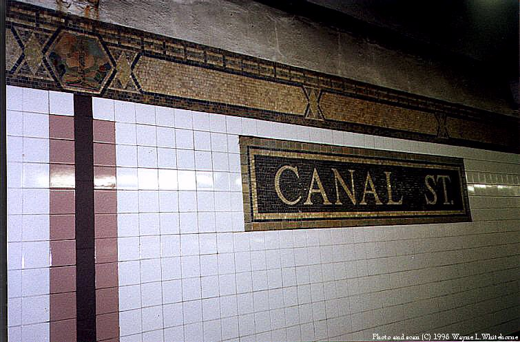 (96k, 755x497)<br><b>Country:</b> United States<br><b>City:</b> New York<br><b>System:</b> New York City Transit<br><b>Line:</b> IRT West Side Line<br><b>Location:</b> Canal Street <br><b>Photo by:</b> Wayne Whitehorne<br><b>Date:</b> 1998<br><b>Viewed (this week/total):</b> 1 / 3847