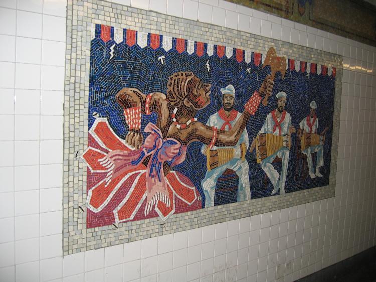 (92k, 750x562)<br><b>Country:</b> United States<br><b>City:</b> New York<br><b>System:</b> New York City Transit<br><b>Line:</b> IRT East Side Line<br><b>Location:</b> 110th Street <br><b>Photo by:</b> Robbie Rosenfeld<br><b>Date:</b> 3/2/2005<br><b>Artwork:</b> <i>Un Sabado en la Ciento Diez (A Saturday on 110th Street)</i>, Manuel Vega (1996).<br><b>Viewed (this week/total):</b> 0 / 4420