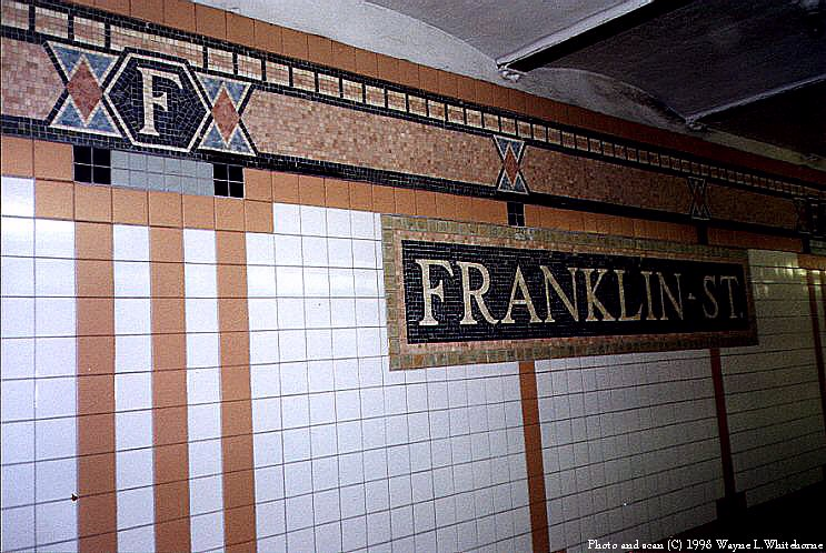 (107k, 743x498)<br><b>Country:</b> United States<br><b>City:</b> New York<br><b>System:</b> New York City Transit<br><b>Line:</b> IRT West Side Line<br><b>Location:</b> Franklin Street <br><b>Photo by:</b> Wayne Whitehorne<br><b>Date:</b> 1998<br><b>Viewed (this week/total):</b> 1 / 3327