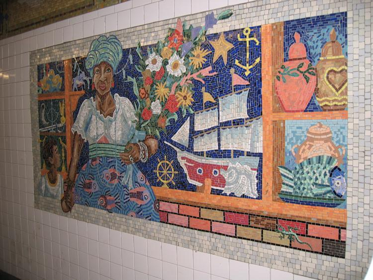 (108k, 750x562)<br><b>Country:</b> United States<br><b>City:</b> New York<br><b>System:</b> New York City Transit<br><b>Line:</b> IRT East Side Line<br><b>Location:</b> 110th Street <br><b>Photo by:</b> Robbie Rosenfeld<br><b>Date:</b> 3/2/2005<br><b>Artwork:</b> <i>Un Sabado en la Ciento Diez (A Saturday on 110th Street)</i>, Manuel Vega (1996).<br><b>Viewed (this week/total):</b> 0 / 4716