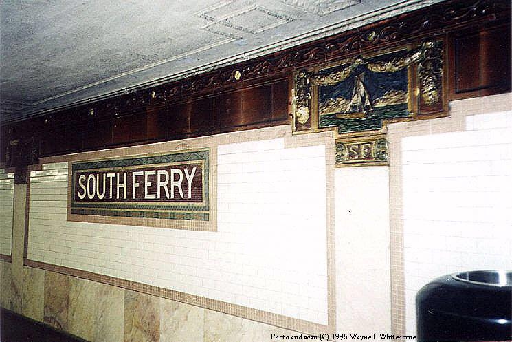 (88k, 745x497)<br><b>Country:</b> United States<br><b>City:</b> New York<br><b>System:</b> New York City Transit<br><b>Line:</b> IRT West Side Line<br><b>Location:</b> South Ferry (Outer Loop Station) <br><b>Photo by:</b> Wayne Whitehorne<br><b>Date:</b> 1998<br><b>Viewed (this week/total):</b> 1 / 6710