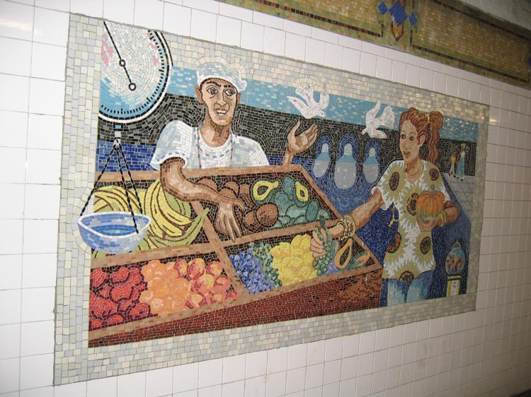 (94k, 750x562)<br><b>Country:</b> United States<br><b>City:</b> New York<br><b>System:</b> New York City Transit<br><b>Line:</b> IRT East Side Line<br><b>Location:</b> 110th Street <br><b>Photo by:</b> Robbie Rosenfeld<br><b>Date:</b> 3/2/2005<br><b>Artwork:</b> <i>Un Sabado en la Ciento Diez (A Saturday on 110th Street)</i>, Manuel Vega (1996).<br><b>Viewed (this week/total):</b> 4 / 6975