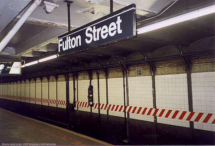 (78k, 739x500)<br><b>Country:</b> United States<br><b>City:</b> New York<br><b>System:</b> New York City Transit<br><b>Line:</b> IRT West Side Line<br><b>Location:</b> Fulton Street <br><b>Photo by:</b> Wayne Whitehorne<br><b>Date:</b> 2/27/1999<br><b>Viewed (this week/total):</b> 11 / 5486