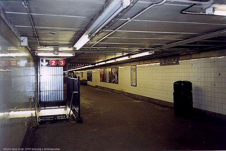 (75k, 739x495)<br><b>Country:</b> United States<br><b>City:</b> New York<br><b>System:</b> New York City Transit<br><b>Line:</b> IRT West Side Line<br><b>Location:</b> Fulton Street <br><b>Photo by:</b> Wayne Whitehorne<br><b>Date:</b> 2/27/1999<br><b>Notes:</b> Mezzanine<br><b>Viewed (this week/total):</b> 0 / 6240