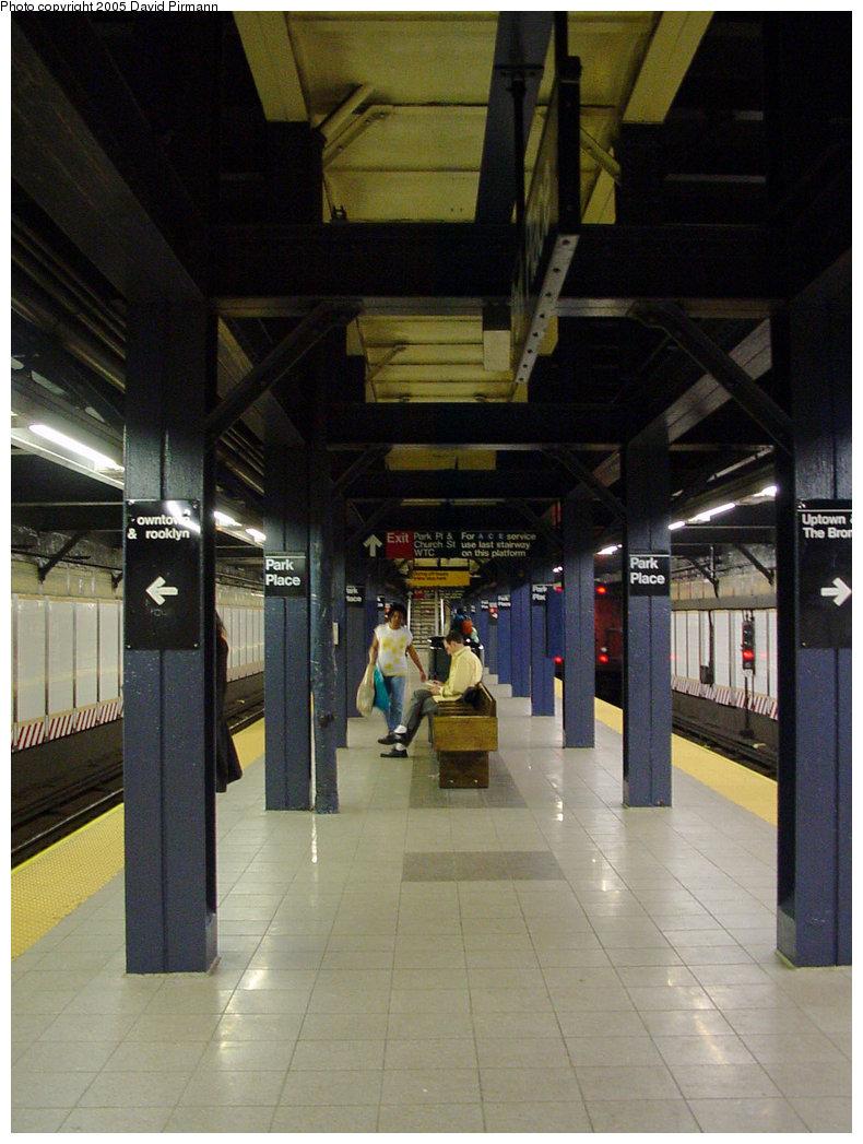 (206k, 790x1047)<br><b>Country:</b> United States<br><b>City:</b> New York<br><b>System:</b> New York City Transit<br><b>Line:</b> IRT West Side Line<br><b>Location:</b> Park Place <br><b>Photo by:</b> David Pirmann<br><b>Date:</b> 3/26/2000<br><b>Viewed (this week/total):</b> 0 / 4799