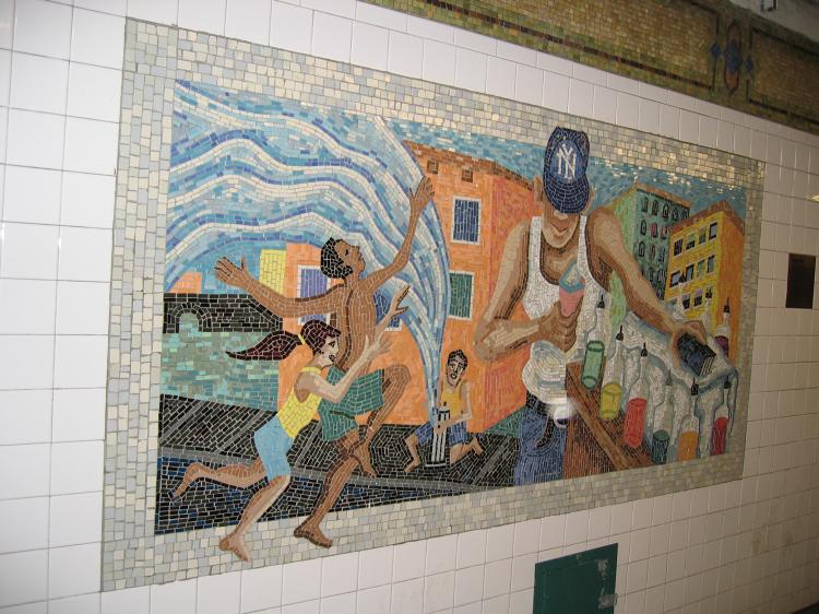 (90k, 750x562)<br><b>Country:</b> United States<br><b>City:</b> New York<br><b>System:</b> New York City Transit<br><b>Line:</b> IRT East Side Line<br><b>Location:</b> 110th Street <br><b>Photo by:</b> Robbie Rosenfeld<br><b>Date:</b> 3/2/2005<br><b>Artwork:</b> <i>Un Sabado en la Ciento Diez (A Saturday on 110th Street)</i>, Manuel Vega (1996).<br><b>Viewed (this week/total):</b> 1 / 3952