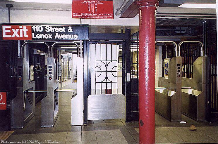 (103k, 745x493)<br><b>Country:</b> United States<br><b>City:</b> New York<br><b>System:</b> New York City Transit<br><b>Line:</b> IRT Lenox Line<br><b>Location:</b> 110th Street/Central Park North <br><b>Photo by:</b> Wayne Whitehorne<br><b>Date:</b> 9/30/1998<br><b>Viewed (this week/total):</b> 0 / 5988