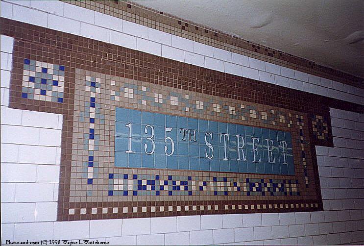 (99k, 743x502)<br><b>Country:</b> United States<br><b>City:</b> New York<br><b>System:</b> New York City Transit<br><b>Line:</b> IRT Lenox Line<br><b>Location:</b> 135th Street <br><b>Photo by:</b> Wayne Whitehorne<br><b>Date:</b> 9/30/1998<br><b>Notes:</b> New-style tablet<br><b>Viewed (this week/total):</b> 0 / 3316