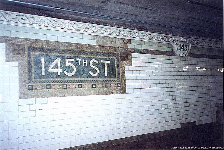 (101k, 742x498)<br><b>Country:</b> United States<br><b>City:</b> New York<br><b>System:</b> New York City Transit<br><b>Line:</b> IRT Lenox Line<br><b>Location:</b> 145th Street <br><b>Route:</b> 3<br><b>Photo by:</b> Wayne Whitehorne<br><b>Date:</b> 1/28/1999<br><b>Notes:</b> Original mosaic tablet<br><b>Viewed (this week/total):</b> 0 / 3288