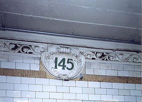 (44k, 498x359)<br><b>Country:</b> United States<br><b>City:</b> New York<br><b>System:</b> New York City Transit<br><b>Line:</b> IRT Lenox Line<br><b>Location:</b> 145th Street <br><b>Route:</b> 3<br><b>Photo by:</b> Wayne Whitehorne<br><b>Date:</b> 1/28/1999<br><b>Notes:</b> Original cartouche<br><b>Viewed (this week/total):</b> 0 / 3092