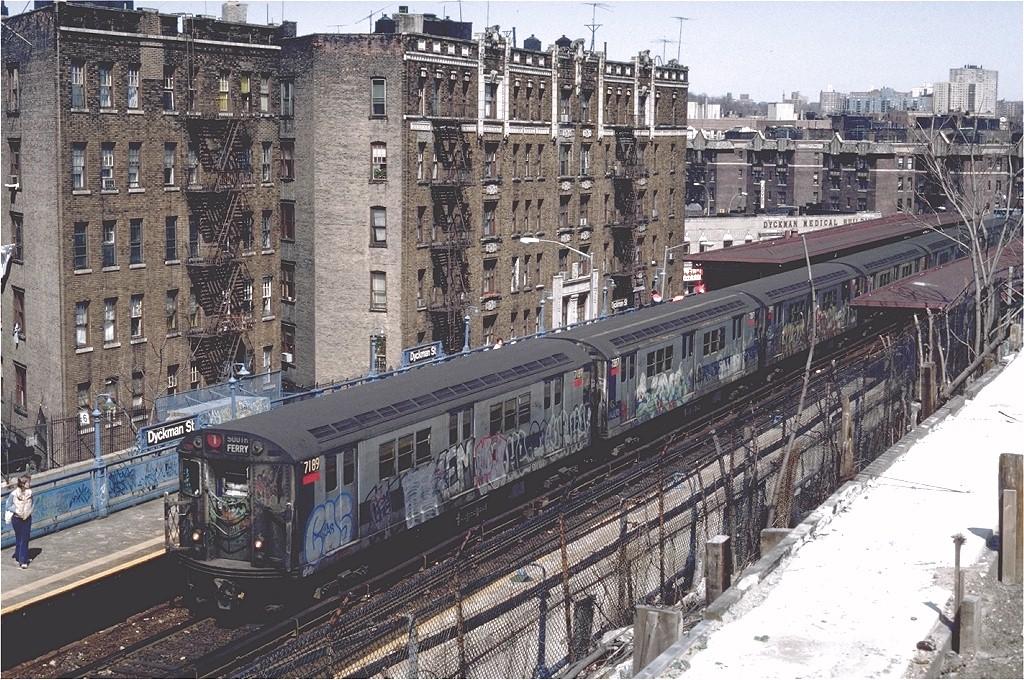 (301k, 1024x680)<br><b>Country:</b> United States<br><b>City:</b> New York<br><b>System:</b> New York City Transit<br><b>Line:</b> IRT West Side Line<br><b>Location:</b> Dyckman Street <br><b>Route:</b> 1<br><b>Car:</b> R-21 (St. Louis, 1956-57) 7189 <br><b>Photo by:</b> Steve Zabel<br><b>Collection of:</b> Joe Testagrose<br><b>Date:</b> 3/30/1983<br><b>Viewed (this week/total):</b> 3 / 7940