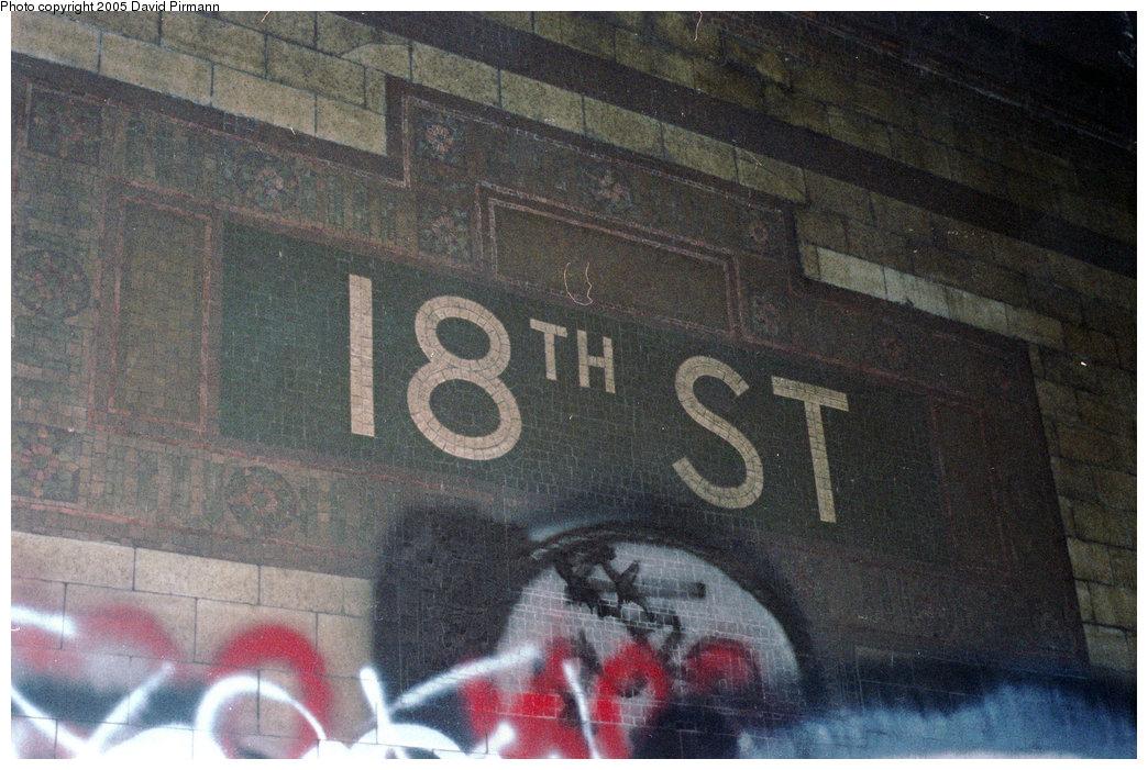 (222k, 1044x701)<br><b>Country:</b> United States<br><b>City:</b> New York<br><b>System:</b> New York City Transit<br><b>Line:</b> IRT East Side Line<br><b>Location:</b> 18th Street <br><b>Photo by:</b> David Pirmann<br><b>Date:</b> 9/24/1995<br><b>Notes:</b> Name tablet, Heins & LaFarge/Manhattan Glass Tile Company, 1904. Original design element, Contract 1 IRT.<br><b>Viewed (this week/total):</b> 7 / 22357