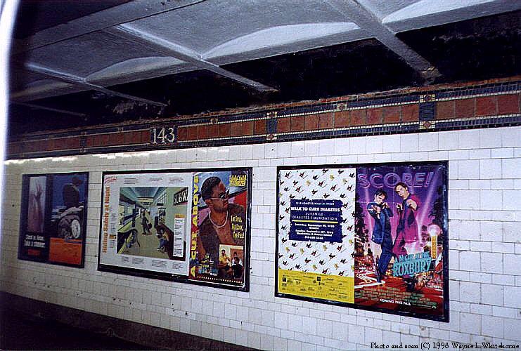 (111k, 741x500)<br><b>Country:</b> United States<br><b>City:</b> New York<br><b>System:</b> New York City Transit<br><b>Line:</b> IRT Pelham Line<br><b>Location:</b> East 143rd Street <br><b>Photo by:</b> Wayne Whitehorne<br><b>Date:</b> 10/3/1998<br><b>Notes:</b> Wall decorations<br><b>Viewed (this week/total):</b> 0 / 3593