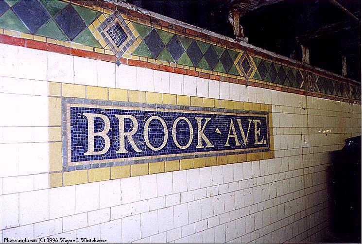 (100k, 745x502)<br><b>Country:</b> United States<br><b>City:</b> New York<br><b>System:</b> New York City Transit<br><b>Line:</b> IRT Pelham Line<br><b>Location:</b> Brook Avenue <br><b>Photo by:</b> Wayne Whitehorne<br><b>Date:</b> 9/30/1998<br><b>Notes:</b> Brook Avenue station tablet<br><b>Viewed (this week/total):</b> 1 / 3823