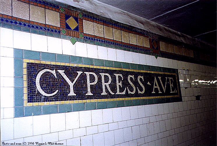 (107k, 745x501)<br><b>Country:</b> United States<br><b>City:</b> New York<br><b>System:</b> New York City Transit<br><b>Line:</b> IRT Pelham Line<br><b>Location:</b> Cypress Avenue <br><b>Photo by:</b> Wayne Whitehorne<br><b>Date:</b> 9/30/1998<br><b>Notes:</b> Cypress Avenue station tablet<br><b>Viewed (this week/total):</b> 1 / 3813