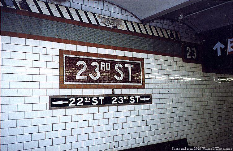 (113k, 753x488)<br><b>Country:</b> United States<br><b>City:</b> New York<br><b>System:</b> New York City Transit<br><b>Line:</b> IRT East Side Line<br><b>Location:</b> 23rd Street <br><b>Photo by:</b> Wayne Whitehorne<br><b>Date:</b> 11/7/1998<br><b>Notes:</b> Name tablet<br><b>Viewed (this week/total):</b> 2 / 4421