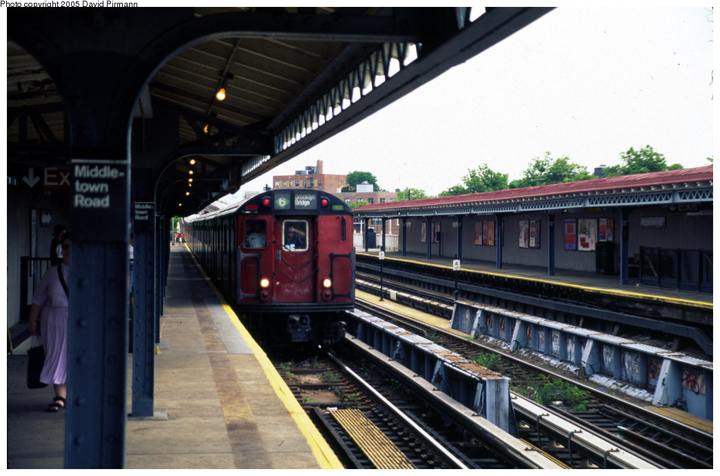 (179k, 1044x690)<br><b>Country:</b> United States<br><b>City:</b> New York<br><b>System:</b> New York City Transit<br><b>Line:</b> IRT Pelham Line<br><b>Location:</b> Middletown Road <br><b>Route:</b> 6<br><b>Car:</b> R-29 (St. Louis, 1962) 8599 <br><b>Photo by:</b> David Pirmann<br><b>Date:</b> 7/21/1999<br><b>Viewed (this week/total):</b> 2 / 4264