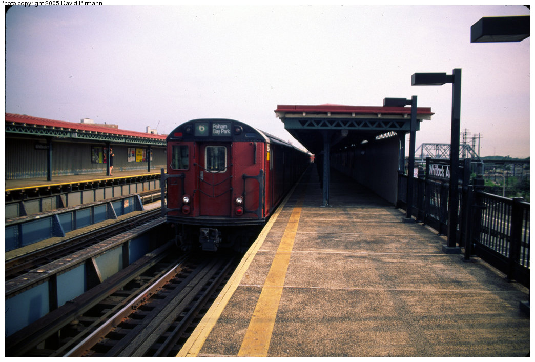 (185k, 1044x706)<br><b>Country:</b> United States<br><b>City:</b> New York<br><b>System:</b> New York City Transit<br><b>Line:</b> IRT Pelham Line<br><b>Location:</b> Whitlock Avenue <br><b>Route:</b> 6<br><b>Car:</b> R-29 (St. Louis, 1962) 8684 <br><b>Photo by:</b> David Pirmann<br><b>Date:</b> 7/21/1999<br><b>Viewed (this week/total):</b> 0 / 3663