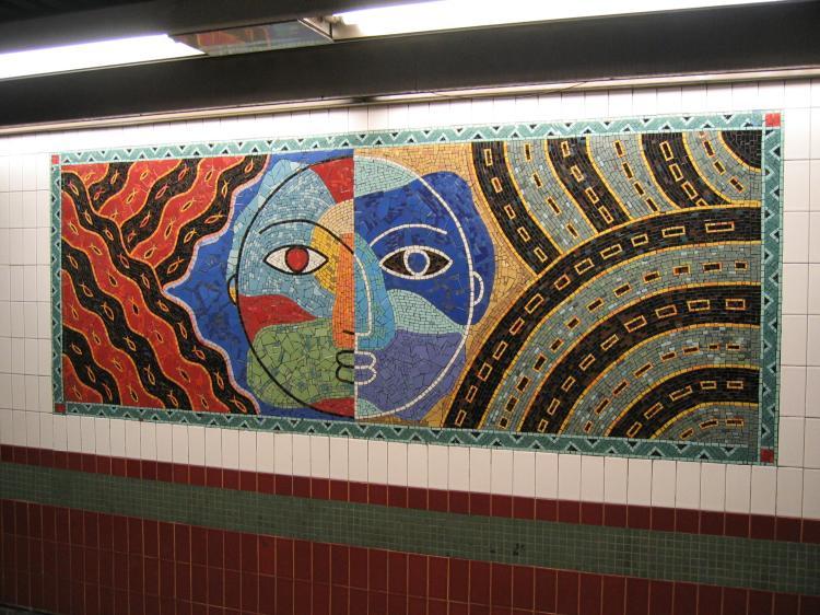 (96k, 750x562)<br><b>Country:</b> United States<br><b>City:</b> New York<br><b>System:</b> New York City Transit<br><b>Line:</b> IRT White Plains Road Line<br><b>Location:</b> 3rd Avenue/149th Street <br><b>Photo by:</b> Robbie Rosenfeld<br><b>Date:</b> 2/8/2005<br><b>Artwork:</b> <i>Una Raza, Un Mundo, Universo (One Race, One World, One Universe)</i>, Jose Ortega (1996).<br><b>Viewed (this week/total):</b> 0 / 2623
