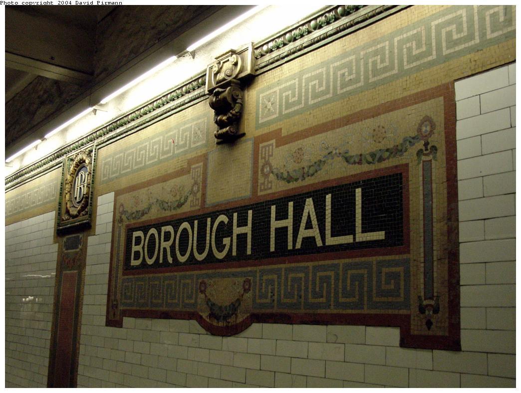 (134k, 1044x788)<br><b>Country:</b> United States<br><b>City:</b> New York<br><b>System:</b> New York City Transit<br><b>Line:</b> IRT Brooklyn Line<br><b>Location:</b> Borough Hall (East Side Branch) <br><b>Photo by:</b> David Pirmann<br><b>Date:</b> 3/12/2000<br><b>Viewed (this week/total):</b> 1 / 3429