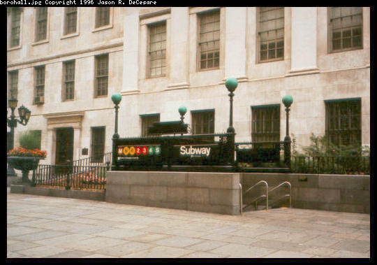(42k, 540x379)<br><b>Country:</b> United States<br><b>City:</b> New York<br><b>System:</b> New York City Transit<br><b>Line:</b> IRT Brooklyn Line<br><b>Location:</b> Borough Hall (East Side Branch) <br><b>Photo by:</b> Jason R. DeCesare<br><b>Date:</b> 3/1997<br><b>Viewed (this week/total):</b> 9 / 4646