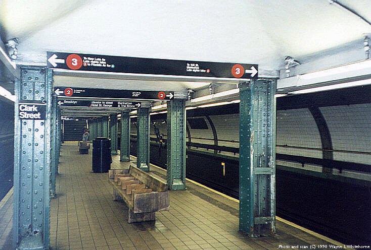 (92k, 734x496)<br><b>Country:</b> United States<br><b>City:</b> New York<br><b>System:</b> New York City Transit<br><b>Line:</b> IRT Brooklyn Line<br><b>Location:</b> Clark Street <br><b>Photo by:</b> Wayne Whitehorne<br><b>Date:</b> 3/21/1998<br><b>Viewed (this week/total):</b> 0 / 11959