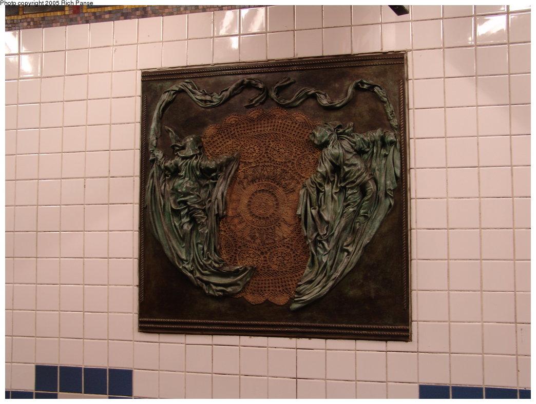 (155k, 1044x788)<br><b>Country:</b> United States<br><b>City:</b> New York<br><b>System:</b> New York City Transit<br><b>Line:</b> IRT Brooklyn Line<br><b>Location:</b> Flatbush Avenue <br><b>Photo by:</b> Richard Panse<br><b>Date:</b> 2/27/2005<br><b>Artwork:</b> <i>Flatbush Floogies</i>, Muriel Castanis (1996).<br><b>Viewed (this week/total):</b> 7 / 4054