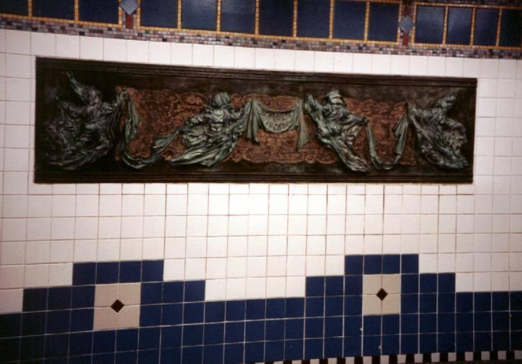 (51k, 750x523)<br><b>Country:</b> United States<br><b>City:</b> New York<br><b>System:</b> New York City Transit<br><b>Line:</b> IRT Brooklyn Line<br><b>Location:</b> Flatbush Avenue <br><b>Photo by:</b> David of Broadway<br><b>Date:</b> 3/3/2002<br><b>Artwork:</b> <i>Flatbush Floogies</i>, Muriel Castanis (1996).<br><b>Viewed (this week/total):</b> 2 / 5337