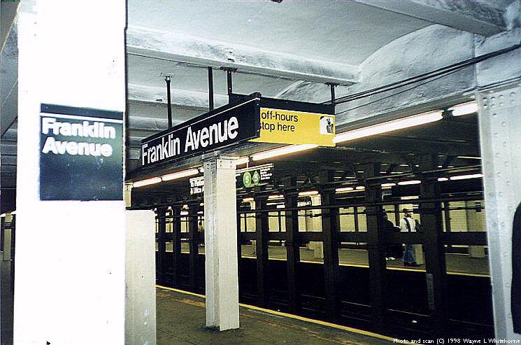 (89k, 745x493)<br><b>Country:</b> United States<br><b>City:</b> New York<br><b>System:</b> New York City Transit<br><b>Line:</b> IRT Brooklyn Line<br><b>Location:</b> Franklin Avenue <br><b>Photo by:</b> Wayne Whitehorne<br><b>Date:</b> 3/21/1998<br><b>Viewed (this week/total):</b> 2 / 7114