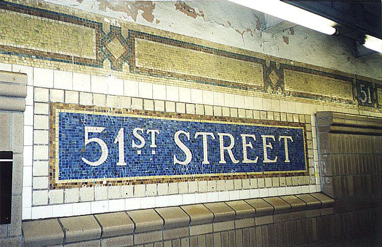 (128k, 750x484)<br><b>Country:</b> United States<br><b>City:</b> New York<br><b>System:</b> New York City Transit<br><b>Line:</b> IRT East Side Line<br><b>Location:</b> 51st Street <br><b>Photo by:</b> Wayne Whitehorne<br><b>Date:</b> 1/31/1998<br><b>Notes:</b> Restored name tablet and tilework<br><b>Viewed (this week/total):</b> 0 / 3316