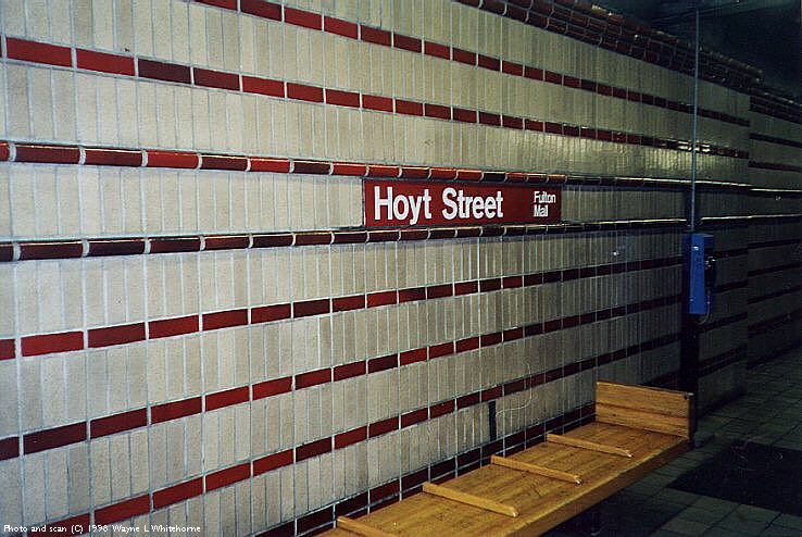 (94k, 738x494)<br><b>Country:</b> United States<br><b>City:</b> New York<br><b>System:</b> New York City Transit<br><b>Line:</b> IRT Brooklyn Line<br><b>Location:</b> Hoyt Street <br><b>Photo by:</b> Wayne Whitehorne<br><b>Date:</b> 2/3/1998<br><b>Viewed (this week/total):</b> 4 / 4445