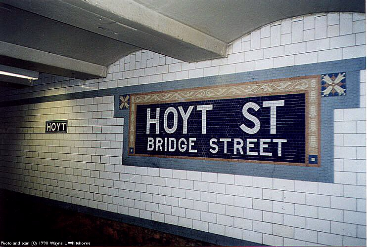 (93k, 742x501)<br><b>Country:</b> United States<br><b>City:</b> New York<br><b>System:</b> New York City Transit<br><b>Line:</b> IRT Brooklyn Line<br><b>Location:</b> Hoyt Street <br><b>Photo by:</b> Wayne Whitehorne<br><b>Date:</b> 2/3/1998<br><b>Viewed (this week/total):</b> 1 / 4591
