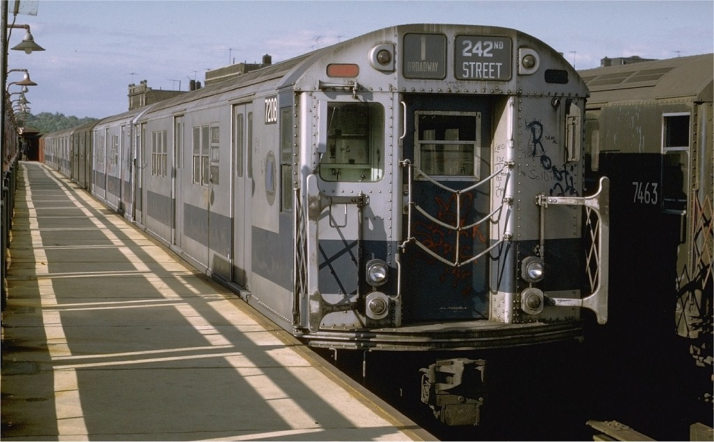 (185k, 1024x634)<br><b>Country:</b> United States<br><b>City:</b> New York<br><b>System:</b> New York City Transit<br><b>Line:</b> IRT West Side Line<br><b>Location:</b> 238th Street <br><b>Route:</b> 1<br><b>Car:</b> R-21 (St. Louis, 1956-57) 7208 <br><b>Photo by:</b> Joe Testagrose<br><b>Date:</b> 6/10/1972<br><b>Viewed (this week/total):</b> 0 / 3069