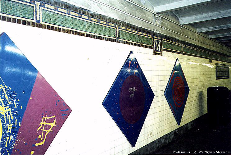 (96k, 744x499)<br><b>Country:</b> United States<br><b>City:</b> New York<br><b>System:</b> New York City Transit<br><b>Line:</b> IRT Brooklyn Line<br><b>Location:</b> Eastern Parkway/Brooklyn Museum <br><b>Photo by:</b> Wayne Whitehorne<br><b>Date:</b> 3/21/1998<br><b>Artwork:</b> <i>Brueghel Series</i>, Pat Steir (1994).<br><b>Viewed (this week/total):</b> 1 / 5824