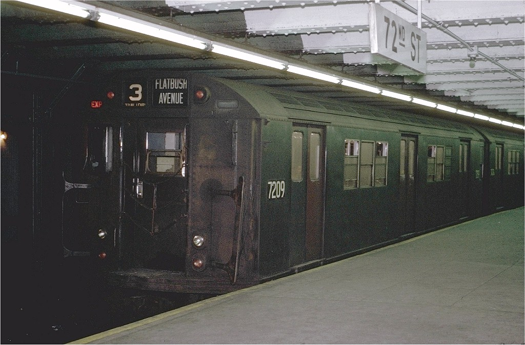 (205k, 1024x674)<br><b>Country:</b> United States<br><b>City:</b> New York<br><b>System:</b> New York City Transit<br><b>Line:</b> IRT West Side Line<br><b>Location:</b> 72nd Street <br><b>Route:</b> 3<br><b>Car:</b> R-21 (St. Louis, 1956-57) 7209 <br><b>Photo by:</b> Joe Testagrose<br><b>Date:</b> 1/23/1971<br><b>Viewed (this week/total):</b> 3 / 2956