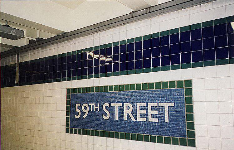 (101k, 750x481)<br><b>Country:</b> United States<br><b>City:</b> New York<br><b>System:</b> New York City Transit<br><b>Line:</b> IRT East Side Line<br><b>Location:</b> 59th Street <br><b>Photo by:</b> Wayne Whitehorne<br><b>Date:</b> 10/31/1997<br><b>Notes:</b> New IND-style name tablet<br><b>Viewed (this week/total):</b> 0 / 4182