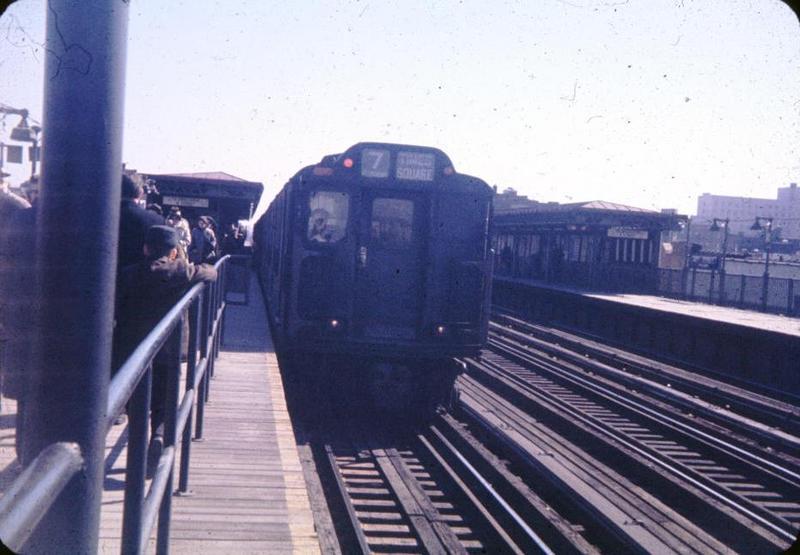(60k, 800x555)<br><b>Country:</b> United States<br><b>City:</b> New York<br><b>System:</b> New York City Transit<br><b>Line:</b> IRT Flushing Line<br><b>Location:</b> 74th Street/Broadway <br><b>Route:</b> 7<br><b>Car:</b> R-14 (American Car & Foundry, 1949)  <br><b>Photo by:</b> Bob Fried<br><b>Date:</b> 3/1962<br><b>Viewed (this week/total):</b> 1 / 5462