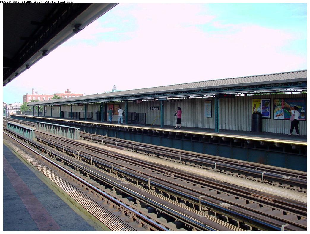 (148k, 1044x788)<br><b>Country:</b> United States<br><b>City:</b> New York<br><b>System:</b> New York City Transit<br><b>Line:</b> IRT Flushing Line<br><b>Location:</b> 69th Street/Fisk Avenue <br><b>Photo by:</b> David Pirmann<br><b>Date:</b> 7/16/2001<br><b>Viewed (this week/total):</b> 1 / 3469