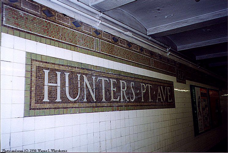 (100k, 745x501)<br><b>Country:</b> United States<br><b>City:</b> New York<br><b>System:</b> New York City Transit<br><b>Line:</b> IRT Flushing Line<br><b>Location:</b> Hunterspoint Avenue <br><b>Route:</b> 7<br><b>Photo by:</b> Wayne Whitehorne<br><b>Date:</b> 10/3/1998<br><b>Notes:</b> Station name tablet (Vickers)<br><b>Viewed (this week/total):</b> 5 / 2475