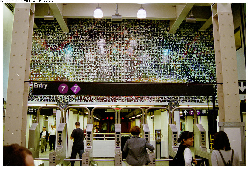 (152k, 820x559)<br><b>Country:</b> United States<br><b>City:</b> New York<br><b>System:</b> New York City Transit<br><b>Line:</b> IRT Flushing Line<br><b>Location:</b> Main Street/Flushing <br><b>Photo by:</b> Paul Polischuk<br><b>Date:</b> 5/17/2000<br><b>Artwork:</b> <i>Happy World</i>, Ik-Joong Kang (1998).<br><b>Viewed (this week/total):</b> 5 / 8861