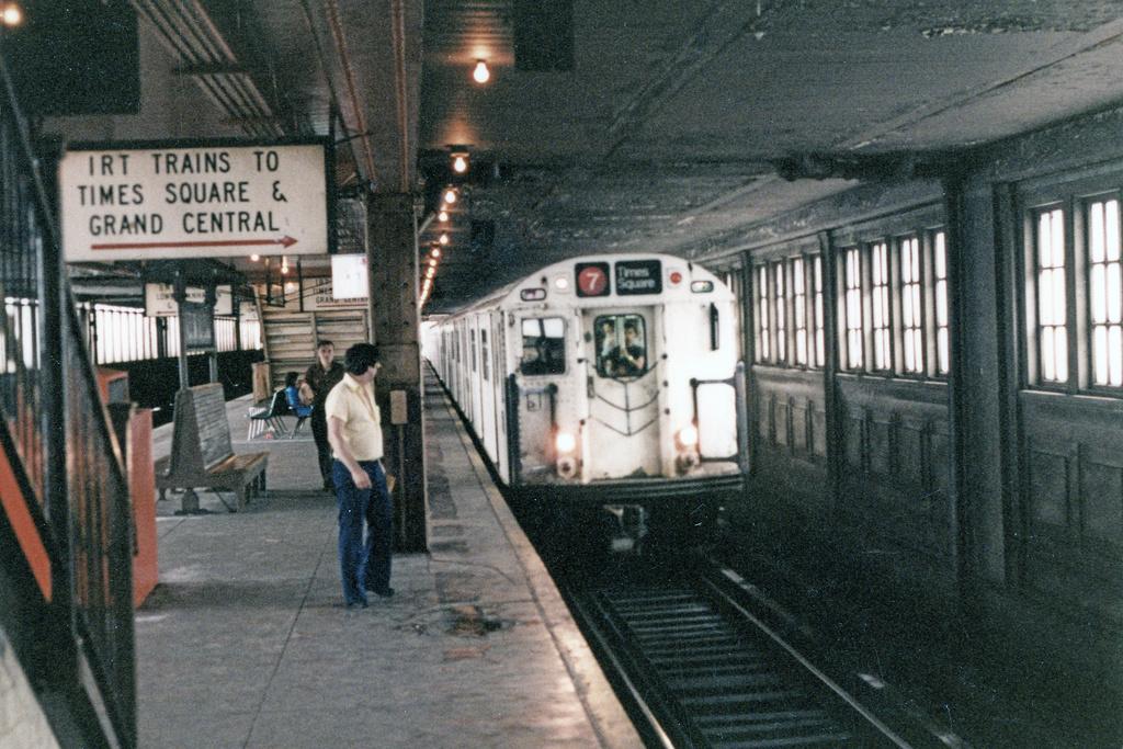 (316k, 820x569)<br><b>Country:</b> United States<br><b>City:</b> New York<br><b>System:</b> New York City Transit<br><b>Line:</b> IRT Flushing Line<br><b>Location:</b> Queensborough Plaza <br><b>Route:</b> 7<br><b>Car:</b> R-36 World's Fair (St. Louis, 1963-64)  <br><b>Photo by:</b> Charles Fiori<br><b>Notes:</b> Lower level<br><b>Viewed (this week/total):</b> 6 / 8399