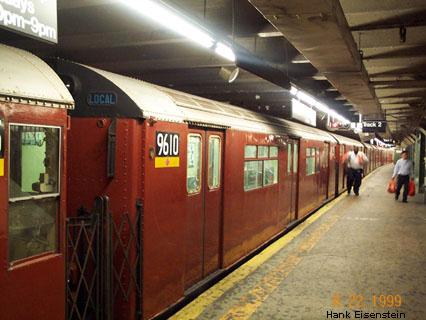 (45k, 426x320)<br><b>Country:</b> United States<br><b>City:</b> New York<br><b>System:</b> New York City Transit<br><b>Line:</b> IRT Flushing Line<br><b>Location:</b> Times Square <br><b>Route:</b> 7<br><b>Car:</b> R-36 World's Fair (St. Louis, 1963-64) 9610 <br><b>Photo by:</b> Hank Eisenstein<br><b>Date:</b> 8/22/1999<br><b>Viewed (this week/total):</b> 0 / 4482