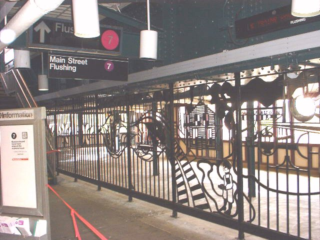 (84k, 640x480)<br><b>Country:</b> United States<br><b>City:</b> New York<br><b>System:</b> New York City Transit<br><b>Line:</b> IRT Flushing Line<br><b>Location:</b> 61st Street/Woodside <br><b>Photo by:</b> Peggy Darlington<br><b>Date:</b> 5/17/2000<br><b>Artwork:</b> <i>Woodside Continuum</i>, Dimitri Gerakaris (1999).<br><b>Viewed (this week/total):</b> 4 / 5535