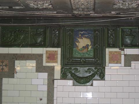 (27k, 480x360)<br><b>Country:</b> United States<br><b>City:</b> New York<br><b>System:</b> New York City Transit<br><b>Line:</b> IRT West Side Line<br><b>Location:</b> 59th Street/Columbus Circle <br><b>Photo by:</b> Robbie Rosenfeld<br><b>Date:</b> 3/2005<br><b>Notes:</b> Faience plaque, Heins & LaFarge/Grueby Faience Company, 1904. Original design element, Contract 1 IRT.<br><b>Viewed (this week/total):</b> 0 / 2465