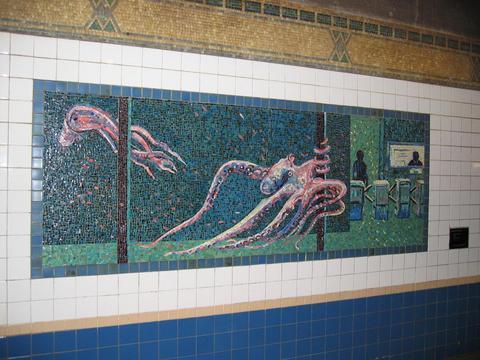 (35k, 480x360)<br><b>Country:</b> United States<br><b>City:</b> New York<br><b>System:</b> New York City Transit<br><b>Line:</b> IRT West Side Line<br><b>Location:</b> Houston Street <br><b>Photo by:</b> Robbie Rosenfeld<br><b>Date:</b> 3/2005<br><b>Artwork:</b> <i>Platform Diving</i>, Deborah Brown (1994).<br><b>Viewed (this week/total):</b> 6 / 3900