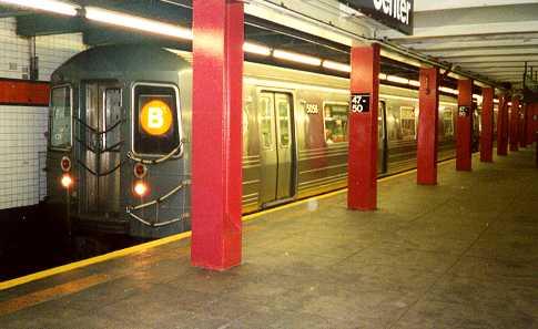 (20k, 485x297)<br><b>Country:</b> United States<br><b>City:</b> New York<br><b>System:</b> New York City Transit<br><b>Line:</b> IND 6th Avenue Line<br><b>Location:</b> 47-50th Street/Rockefeller Center <br><b>Route:</b> B<br><b>Car:</b> R-68A (Kawasaki, 1988-1989)  5056 <br><b>Photo by:</b> Trevor Logan<br><b>Date:</b> 7/1999<br><b>Viewed (this week/total):</b> 3 / 9081