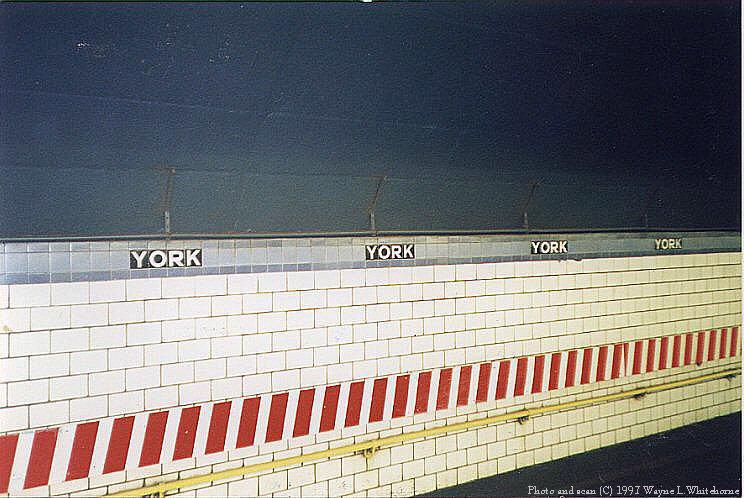 (89k, 744x498)<br><b>Country:</b> United States<br><b>City:</b> New York<br><b>System:</b> New York City Transit<br><b>Line:</b> IND 6th Avenue Line<br><b>Location:</b> York Street <br><b>Photo by:</b> Wayne Whitehorne<br><b>Date:</b> 12/26/1997<br><b>Notes:</b> York Street IND station tile band<br><b>Viewed (this week/total):</b> 2 / 3848