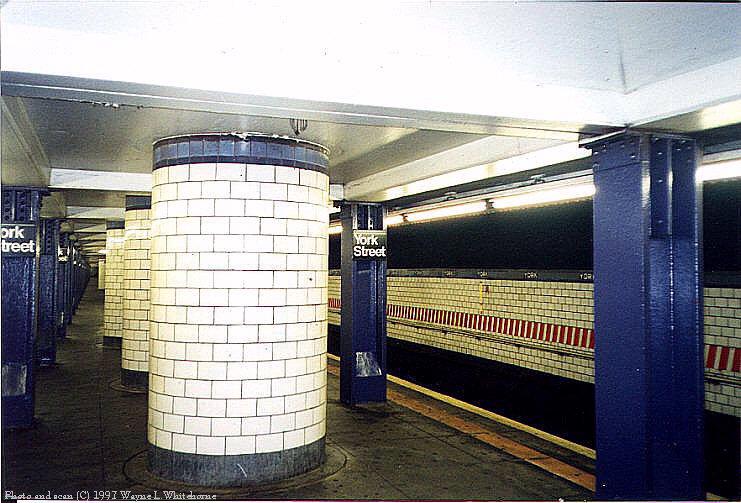 (92k, 741x503)<br><b>Country:</b> United States<br><b>City:</b> New York<br><b>System:</b> New York City Transit<br><b>Line:</b> IND 6th Avenue Line<br><b>Location:</b> York Street <br><b>Photo by:</b> Wayne Whitehorne<br><b>Date:</b> 12/26/1997<br><b>Viewed (this week/total):</b> 6 / 4917