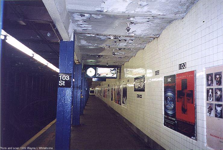 (71k, 740x499)<br><b>Country:</b> United States<br><b>City:</b> New York<br><b>System:</b> New York City Transit<br><b>Line:</b> IND 8th Avenue Line<br><b>Location:</b> 103rd Street <br><b>Photo by:</b> Wayne Whitehorne<br><b>Date:</b> 10/3/1999<br><b>Viewed (this week/total):</b> 3 / 4470